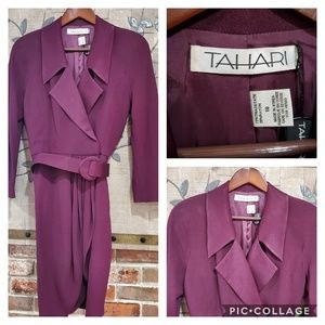 VINTAGE TAHARI Plum Colored Wrap Dress Size 10